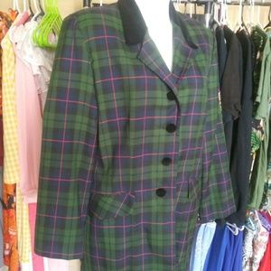 90s Green plaid suit with skirt